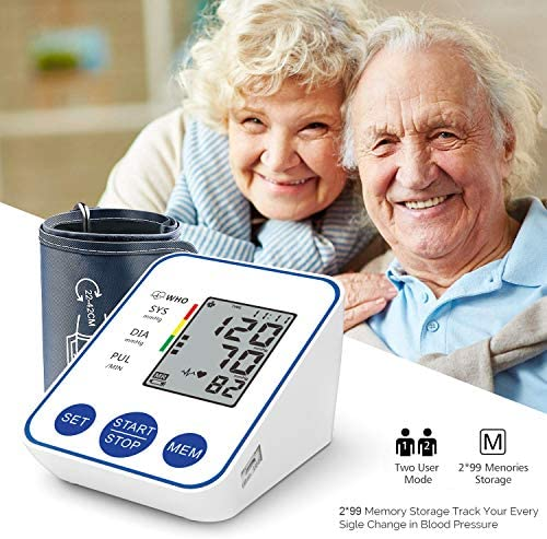 Blood Pressure Monitor, Upper Arm Digital Blood Pressure Monitors Cuff BP Machine Automatic Heart Rate Pulse Monitor with LCD Large Screen Display Home Use Care Device 51JM4jn0W9L