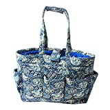Floral Quilted Cotton Needle Bag Knitting Bag Yarn Storage Tote (Peacock Blue)
