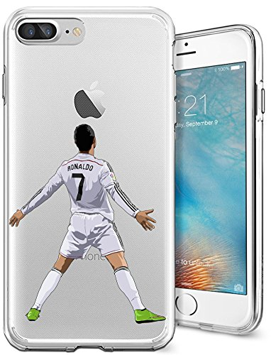 iPhone 7 Plus Case, Chrry Cases Ultra Slim [Crystal Clear] [Soccer Series] Cristiano Ronaldo Soft Transparent TPU Case Cover for Apple iPhone 7 Plus (5.5) - (Crystal Clear Football)