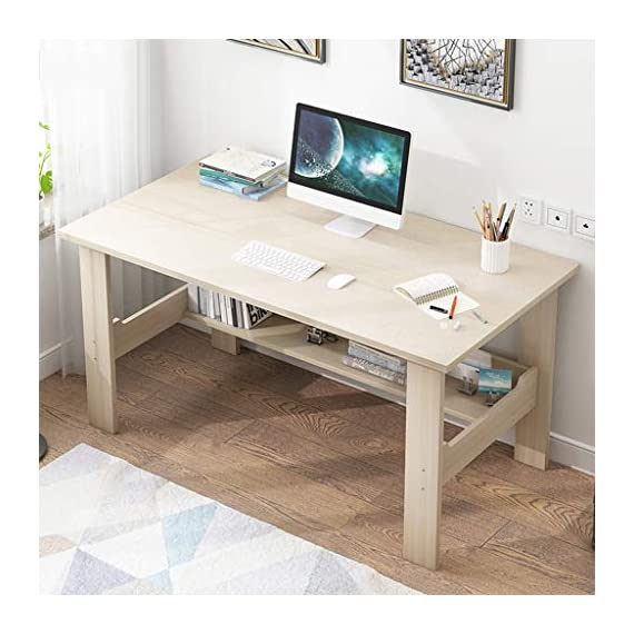 """Computer Desk with One-Tier Storage Shelves, Modern Large Office Desk Computer Table Studying Writing Desk Workstation with Bookshelf and Tower Shelf for Home Office (White) - Fast shipping: You will receive the product in 3 - 5 days after you purchase. Package will be shipped from East Coast Area or West Coast Area By FedEx & DHL.The biggest two of our warehouses are located in Orlando and Los Angeles. Large Desktop: L*39.4 x W*17.7 x H*28.3 inches(100x45x72CM),the computer desk has strictly quality checking before packaged.It's extremely sturdy and easy to clean, rag cleaning is enough SUPER DURABLE & STABLE: 0.85"""" thick MDF board is water & dust resistant and easy to clean. Foot pads not only can be used in uneven ground to prevent scratches, strengthen the stability, but also make adjustment of height to meet your various demands. - writing-desks, living-room-furniture, living-room - 51JM5DWrKYL. SS570  -"""