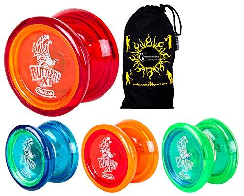 Duncan BUTTERFLY XT YoYo Ideal for Beginners + Travel Bag! C-Bearing Axle Intermediate Yo-Yo. (Blue)