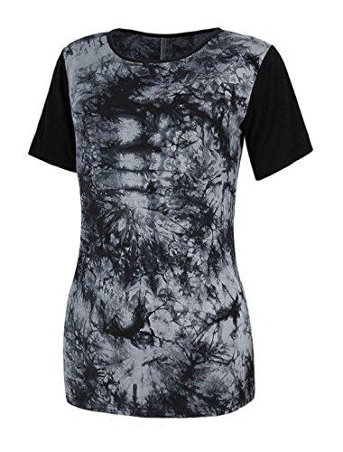 Sourcingmap Femme Manches Courtes Colorant Plante Impressions Tunique T-Shirt - Femmes, Noir, L (UK 16)