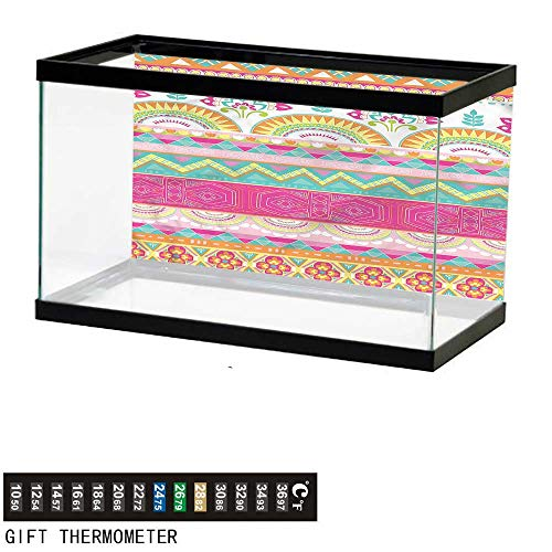 (bybyhome Fish Tank Backdrop Ethnic,Colorful Tribal Triangles,Aquarium Background,72