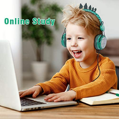 Kids Headphones Boys, Wired Dinosaur Headphones w/Mic 3.5mm Jack & Adjustable Headband & Tangle-Free Cord, Over On Ear Headset for School Birthday Xmas, w/1pc Dinosaur Party Bag, Green