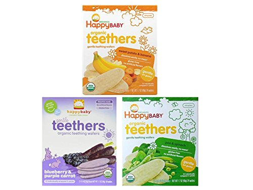 Natural Teething Wafers by Happy Baby 3 Flavor Sampler Bundle