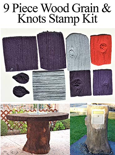 Best Concrete Wood Stamp Kit, 9 Piece Wood Grain & Knots Stamp Kit, PRIMARILY Used To Stamp Countertop Edges, Create Concrete Trees, Concrete Wood Furniture