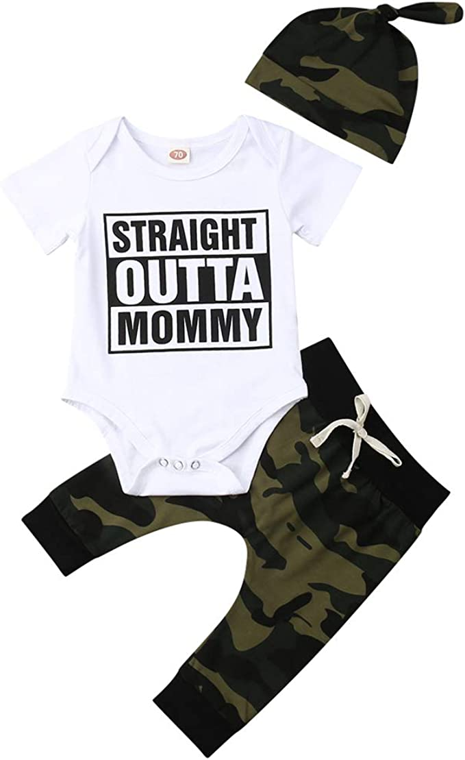 Newborn Baby Boy Camo Outfits Kids Bodysuit Jumpsuit Pants Hat Romper 3PCS 0-18M