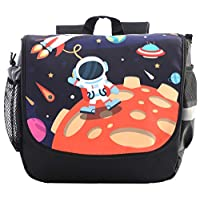 GURHODVO Kids Backpack for Toddler,Kindergarten Preschool Bag,Little Boys Nursery Schoolbag Age 2-6 Outer Space,Spacemen with Chest Strap Reflective Stripe Black