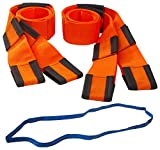 Forearm Forklift Lifting and Moving Straps for Furniture, Appliances, Mattresses or Heavy Objects up to 800 Pounds 2-Person, Includes Free Mover's Rubber Band, Orange, Model L74995CNFRB