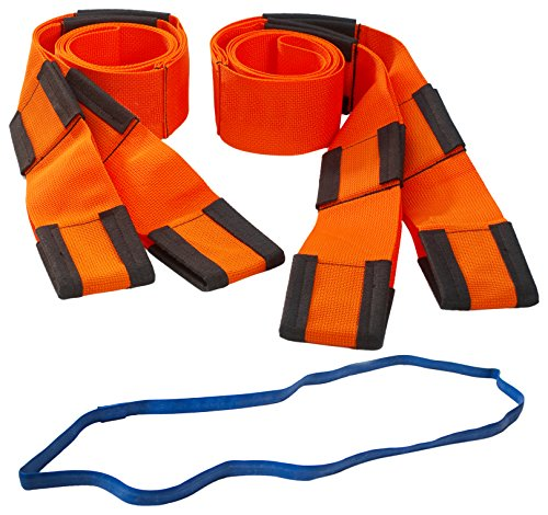 Forearm Forklift Lifting and Moving Straps for Furniture, Appliances, Mattresses or Heavy Objects up to 800 Pounds 2-Person, Includes Free Mover's Rubber Band, Orange, Model L74995CNFRB,