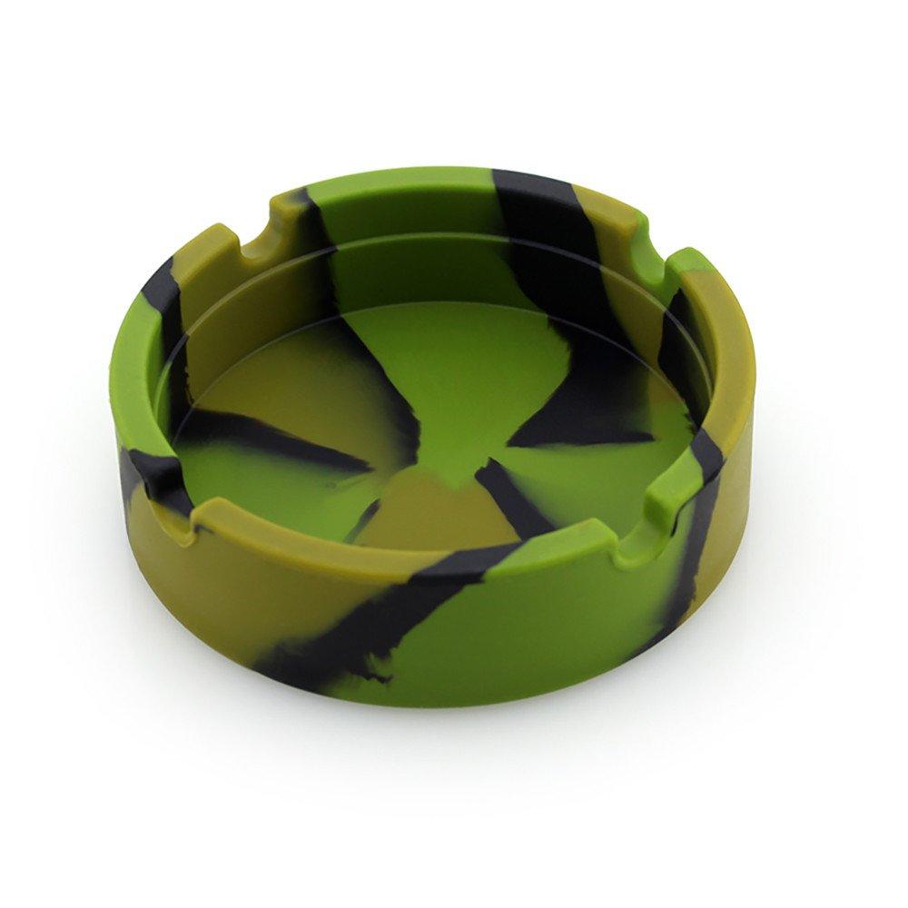 aliveGOT Colorful Premium Silicone Rubber High Temperature Heat Resistant Round Design Ashtray (Camouflage)