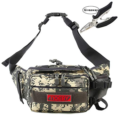 bce315f1bfb NOEBY Fishing Bag + Portable Fishing Plier Outdoor Fishing Tackle Bag  Multiple Waist Bag Fanny Pack Waterproof Fanny Pack (Mini Pocket-Digital  Camouflage)
