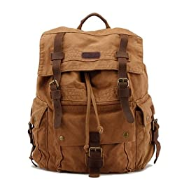 Kattee Men's Leather Canvas Backpack Large School Bag Travel Rucksack 56 100% brand new & high quality Material: High Density Canvas and Trim with Genuine Cow Leather Large capacity, interior with 15 inch main pocket is roomy for storing IPAD AIR, portable textbooks, A4 magazine etc, and have a pocket fits 17 inch laptop