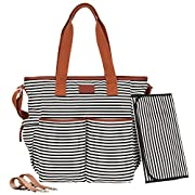 Black Diaper Bag Tote Collection by Hip Cub - W/Matching Baby Changing Pad