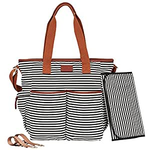 Black Diaper Bag Tote Collection by Hip Cub - W/ Matching Baby Changing Pad