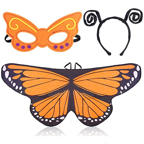 Beelittle Butterfly Wings Costume 3 Pieces Fancy Dress-Up Set Butterfly Wings Cape Shawl with Antenna Headband and Mask for Girls Kids (Orange)