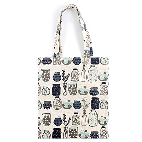 Print Canvas Shopper (Oath_song Women's Glass Candy Jar Print Cotton Canvas Tote Bag Beige (zip))