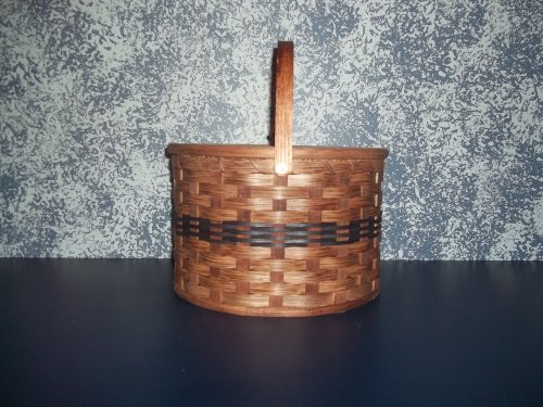 (Amish Handmade Primitive Country Double Pie Carrier Basket with Tray and Lid. Measures 11