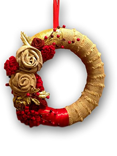 burlap christmas wreath rustic christmas wreath red and gold wreath burlap christmas decorations - Burlap Christmas Decorations