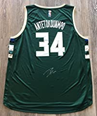 Now up for sale is a autographed authentic jersey. That has been hand signed by Giannis Antetokounmpo. A perfect jersey for any collection. The jersey comes with a certificate of authenticity from JSA. This is a stock photo, the item you will...