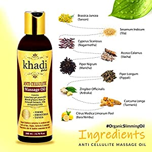 Khadi Global Anti Cellulite Slimming Massage Oil 200 ml With 31+ Powerful Natural Blend of Herbs, Extracts, Oils…