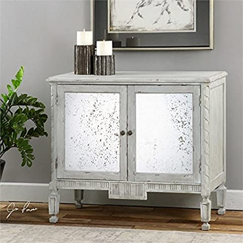 Ambient Carved Details Accented With Warm Blue/gray Glaze With Light Distressing Revealing Wood Undertones Mirror Is Heavily Antiqued Adjustable Interior Shelf Console - Glaze Wood Cabinets