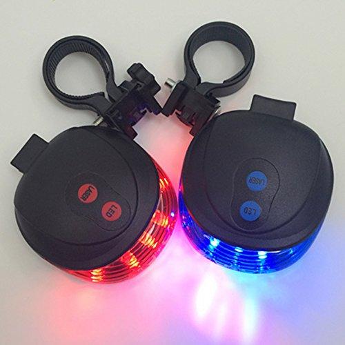 fuoco nbsp;luci bici posteriore di 2 di LED in blu luce rosso notte bicicletta posteriore di bicicletta 5 nbsp;LED ZREAL posteriore sicurezza avvertimento dwfOdS