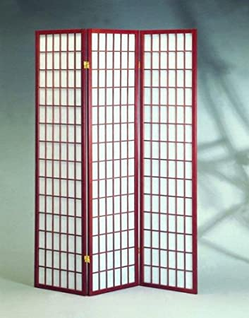 Cherry 3 Panels Room Divider Screen With Rice Paper