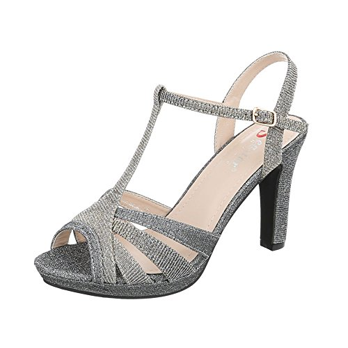 Zapatos para mujer Sandalias de vestir Tacón de aguja Sandalias de tacón Ital-Design Gris Plateado M235
