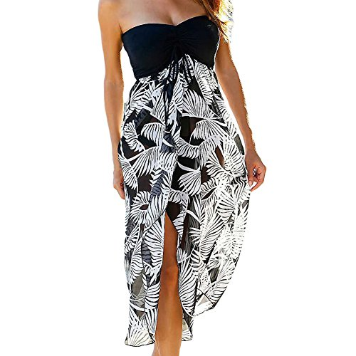 Open Front Strapless Gown - SUBWELL Women's Summer Off Shoulder Open Back Beach Cover Up Long Maxi Chiffon Dress (XX-Large, Black White Printed)