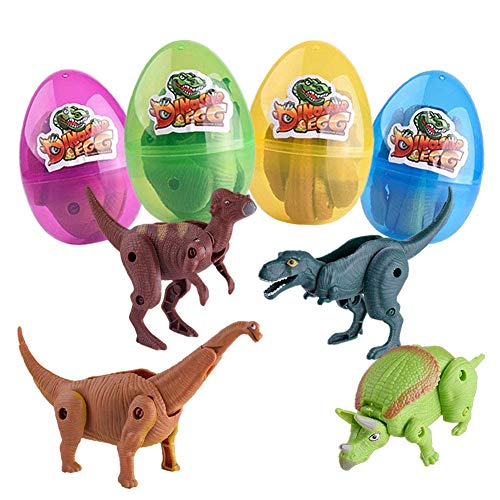 4 Pack Jumbo Easter Eggs with Deformation Dinosaur Toys Inside for Kids Boys Girls Easter Gifts Easter Basket Stuffers Fillers Party supplies]()