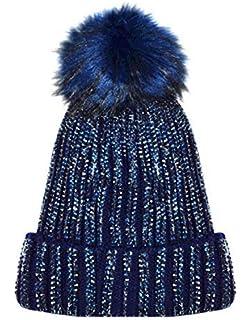 X17 Celebmodelook New Ribbed Studded Diamante Diamond Beanie Hat Fur Bobble  Pom Pom Fleece… 96f7c087279