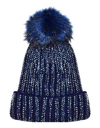 29e2aa5910b X17 Celebmodelook New Ribbed Studded Diamante Diamond Beanie Hat Fur Bobble  Pom Pom Fleece Inner Lining Ski Hat.  Amazon.co.uk  Clothing