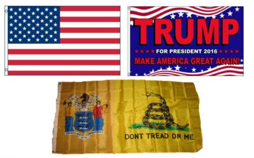 Moon 3x5 Trump 2016 & American & State of New Jersey Gadsden Set Flag 3x5 - Vivid Color and UV Fade Resistant - Prime Outside Garden Home Decor