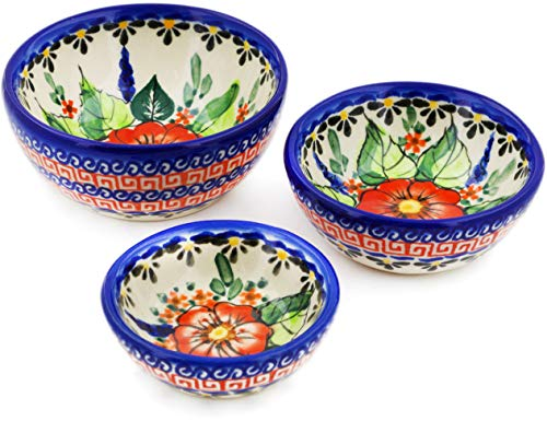 Polish Pottery Small Set of 3 Nesting Bowls (Spring Splendor Theme) Signature UNIKAT + Certificate of Authenticity