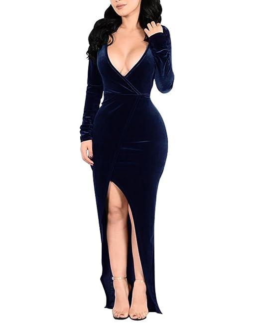 Mujer Vestidos Fiesta Bodas Manga largas V-Cuello Terciopelo De Coctel Partido Vestido Azul oscuro