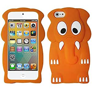 Orange Elephant Silicon Soft Rubber Skin Case Cover For Apple iPod Touch iTouch 5, 6 with Free Pouch