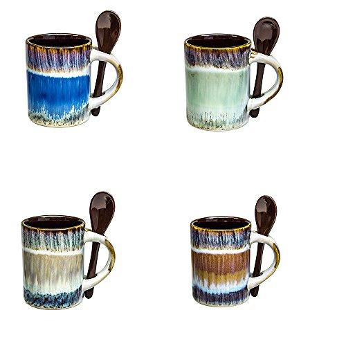 Mugs - Coffee Espresso Cups Set of 4 - Glazed mugs set with spoons -Handmade Ceramic 5 Ounce Coffee Mugs Set w/Espresso Spoons - Tea Cups Hot Beverages
