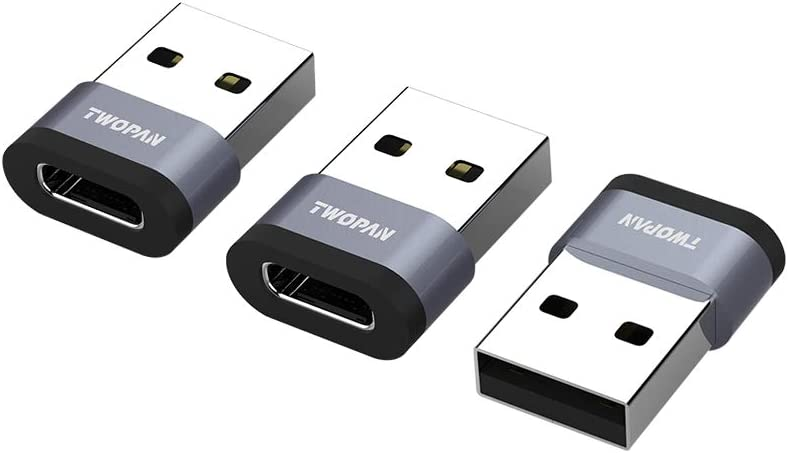 TWOPAN ACA3 USB C Female to USB A Male Adapter, Compatible with Laptop,Power Charger and Power Bank, Work with More Devices with Standard USB A Port, Space Gray, 3 Pieces.