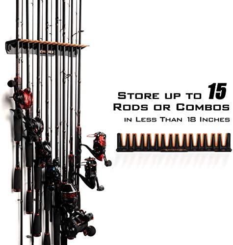 Freshwater Vertical Wall Mount Fishing Pole Rack up to 15 Rod and Reel Combos