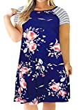Kancystore Women's Summer Dress Short Sleeve Plus Size Midi Dress 3XL Blue