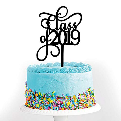 Black Class of 2019 Graduation Cake Topper-Congrats Grad Party Decorations Supplies-High School Graduation, College Graduate Cake -