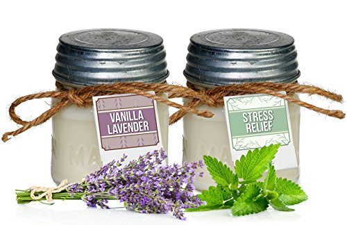 Jar Paraffin Wax Candle (Aira Soy Candles - Organic, Kosher, Vegan in Mason Jar w/ Therapeutic Grade Essential Oils - Hand-poured 100% Soy Candle Wax - Paraffin Free - Gift Set - Stress Relief & Vanilla Lavender - 8 Ounce x 2)