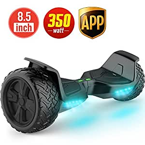 """TOMOLOO Self-Balancing Scooter UL2272 Certified 8.5"""" Wheel Hoverboard with RGB Lights Bluetooth Speaker Customizable App (Black)"""