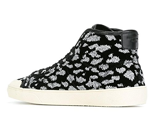 Saint Laurent Mannen 442021grs001054 Wit / Zwart Fluweel Hi Top Sneakers