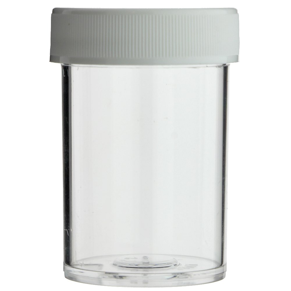 MADE IN USA 288-PIECE 1 OZ CLEAR ROUND WIDE-MOUTH POLYSTYRENE PLASTIC JAR WITH WHITE SCREW CAP