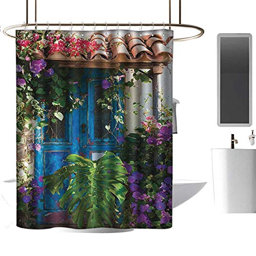 """Qenuan Clear Shower Curtain Liner Rustic Decorations,Charm of Old Door with Overgrown Exotic Flower Petals and Palm Leaves Scene,Multi,Decorative Bathroom Curtain 70""""x70"""""""