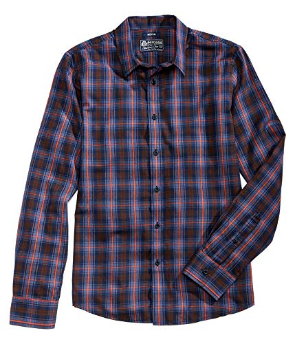 American Rag Mens Small Plaid Print Button Down Shirt Blue S