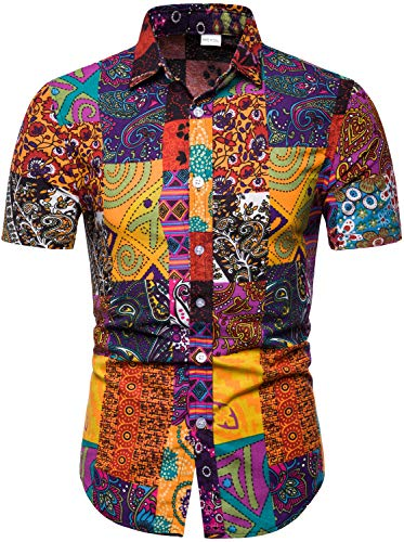 HENGAO Men's Tribal Patchwork Floral Printed Short Sleeve Linen Button Down Shirt, TC19, M/40 = Tag 2XL