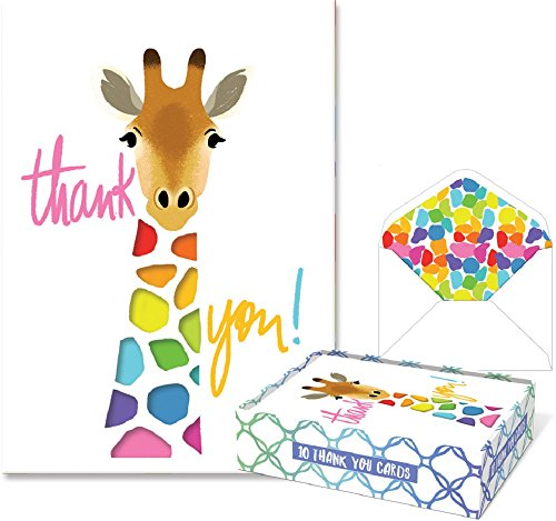 - Punch Studio Molly & Rex Die-Cut Boxed Thank You Note Cards - Giraffe